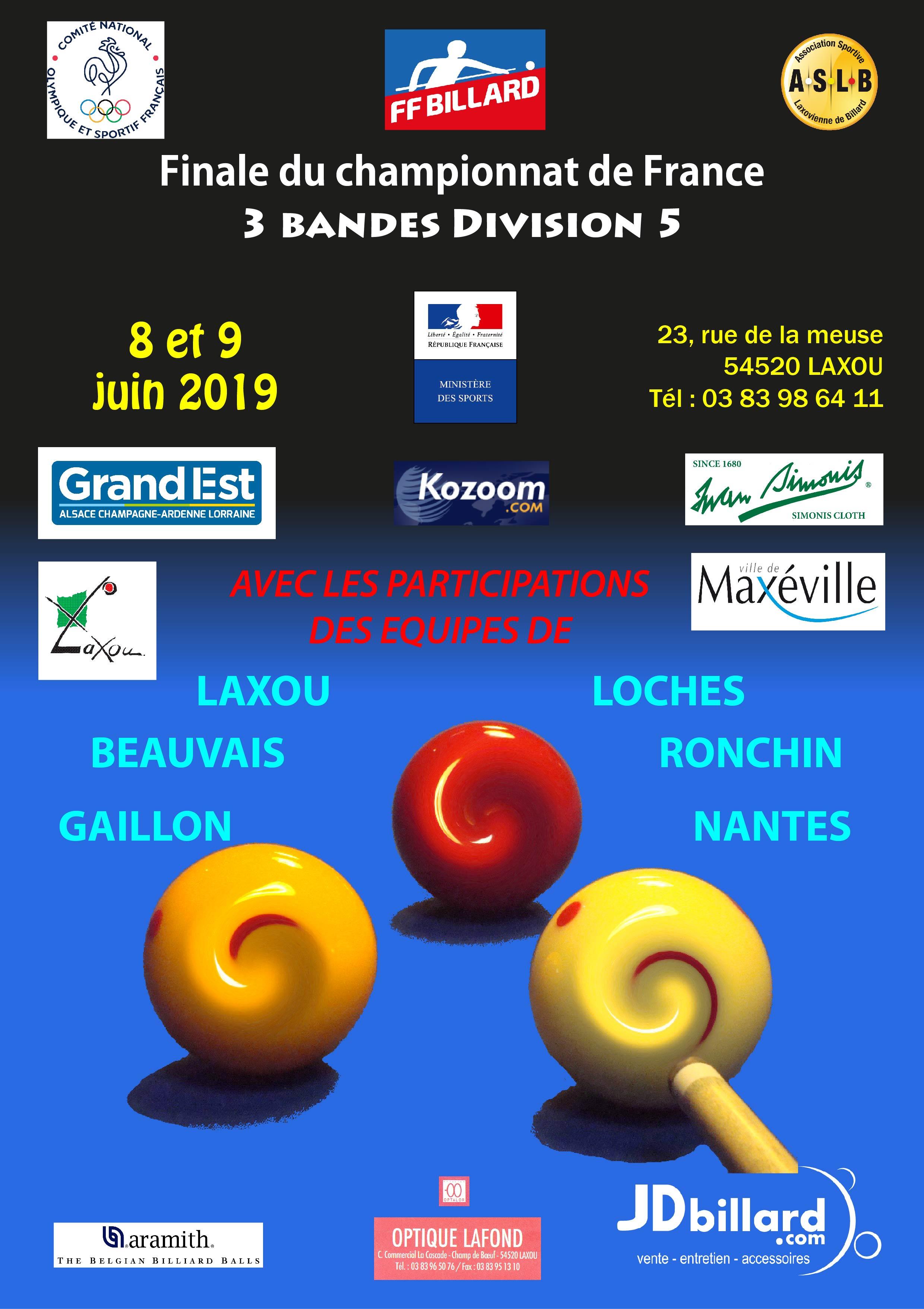 Championnat de France par équipes FINALE  D5  3 Bandes