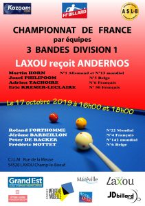 CHAMPIONNAT DE FRANCE PAR EQUIPES 3 BANDES  DIV 1