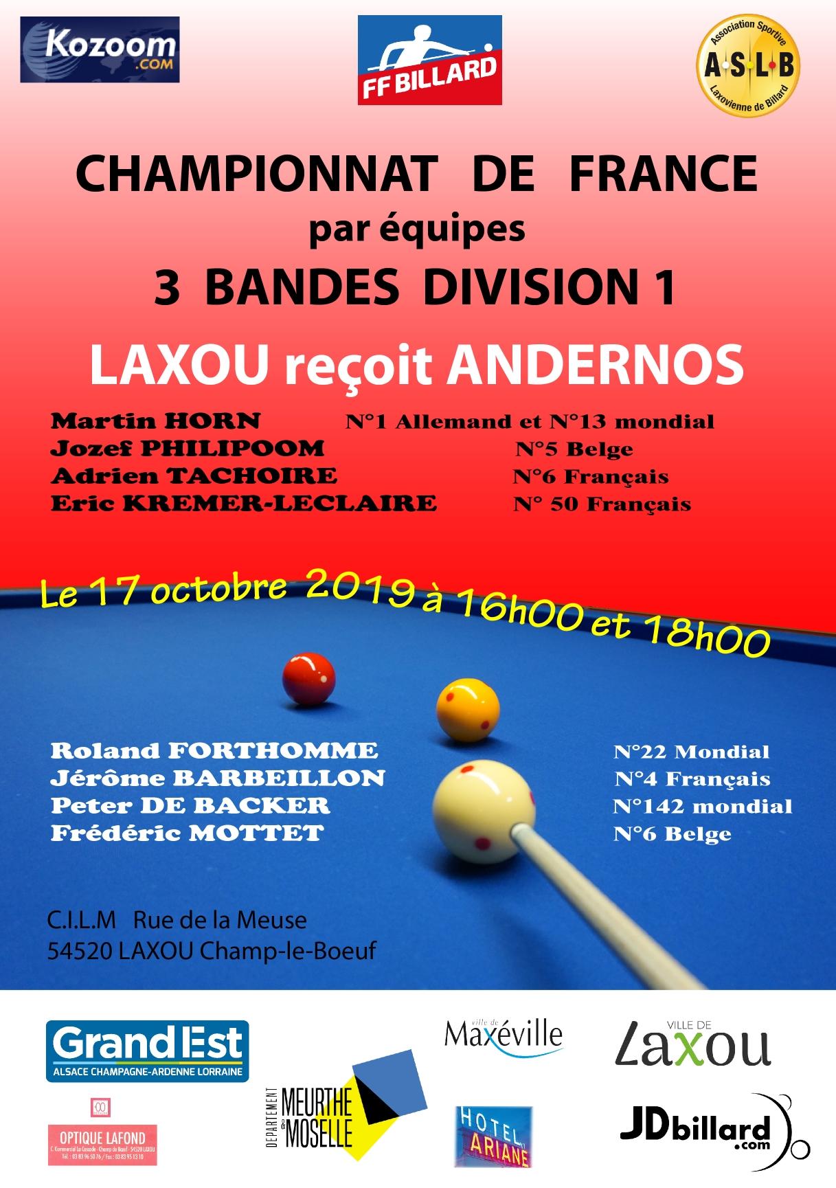 You are currently viewing CHAMPIONNAT DE FRANCE PAR EQUIPES 3 BANDES  DIV 1