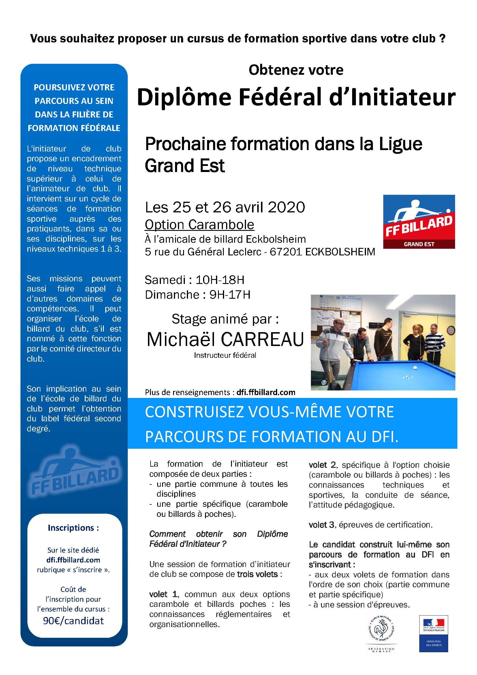 Formation DFI – Initiateur de club – 2020